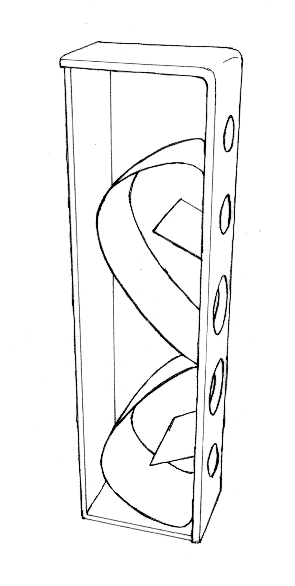 Pilot loudspeaker system of original design, incorporating research in acoustics, audio electronics, and industrial design. Interior engineering includes tapered, curvilinear wave channels to port rear driver energy, extending response while limiting problematic standing wave resonance. Handcrafted cherry enclosure. 38Hz-40kHz ±3dB. Dimensions: 30cm (w) x 145cm (h) x 40cm (d).