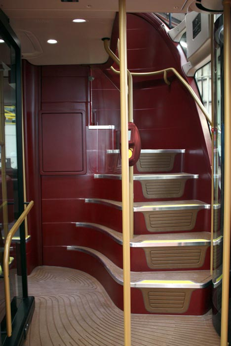 Stairway in Londons new double decker buses