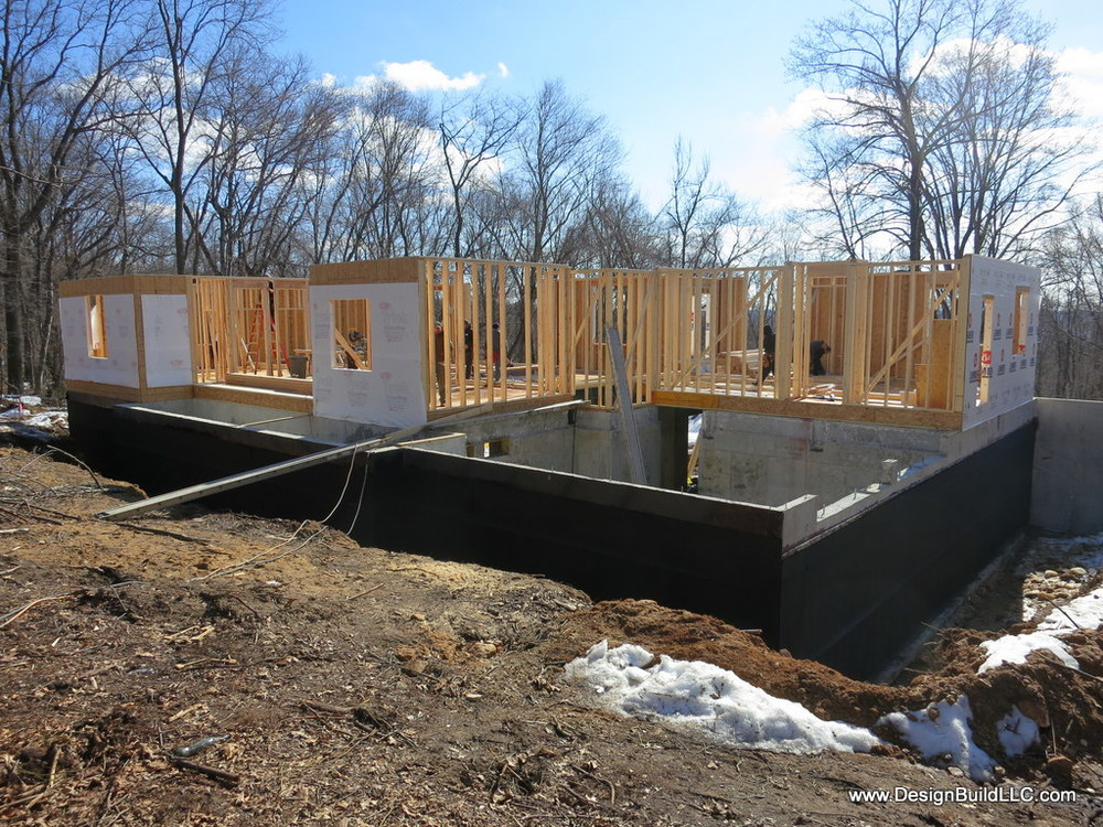 Here the basement waterproofing is installed, ready for backfill.