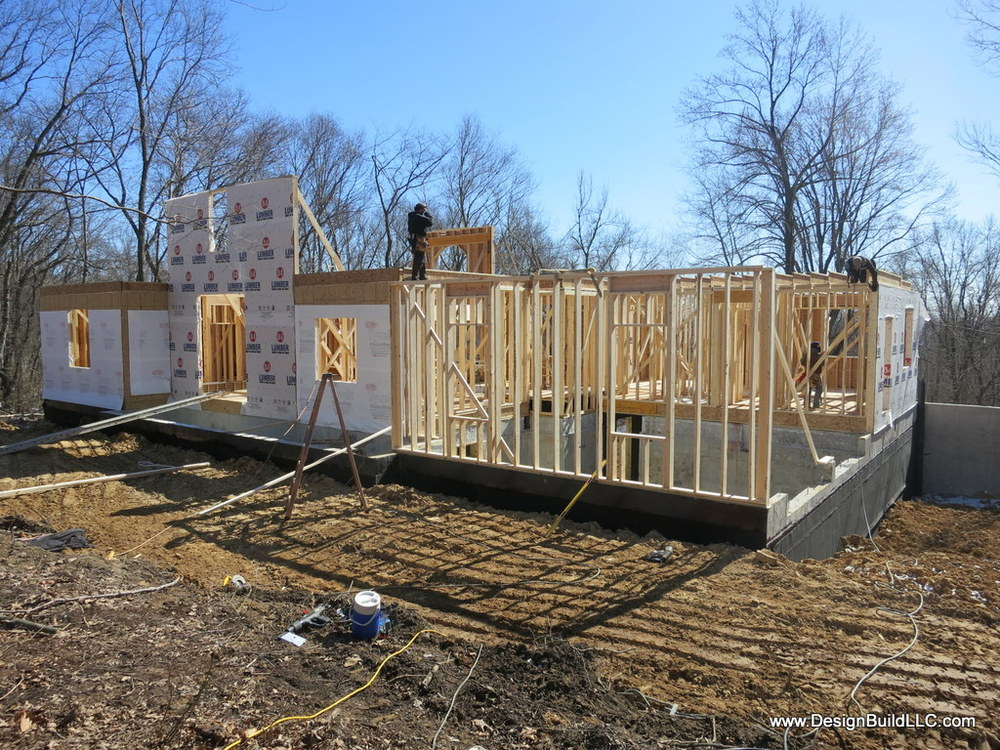 Backfill is in place.  The first floor deck stabilizes the load of the backfill.