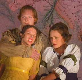 Brent Werzner is Big Harpe; Jenny Larson is Betsey; and Andrea Skola is Sue