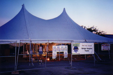The tent under construction