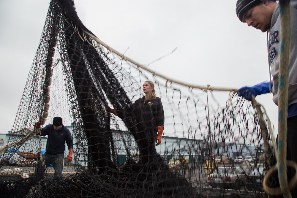 Crew Members of F/V Crusader load nets into a crate for storage at Fishermen's Terminal in Seattle. The crew consists on family members and others who spend most of the year fishing in the waters of Alaska and Washington for Salmon, Herring and Black Cod.