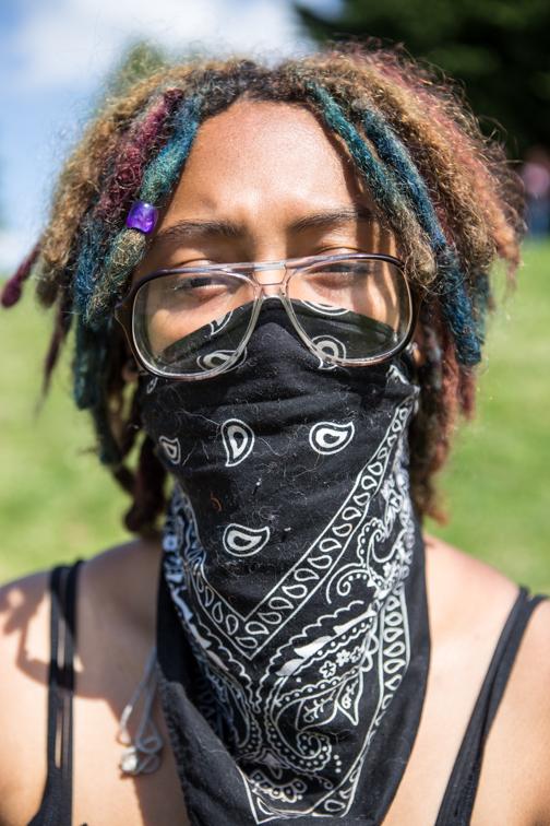 Protestor at MLK Park Seattle, WA 05/01/2015