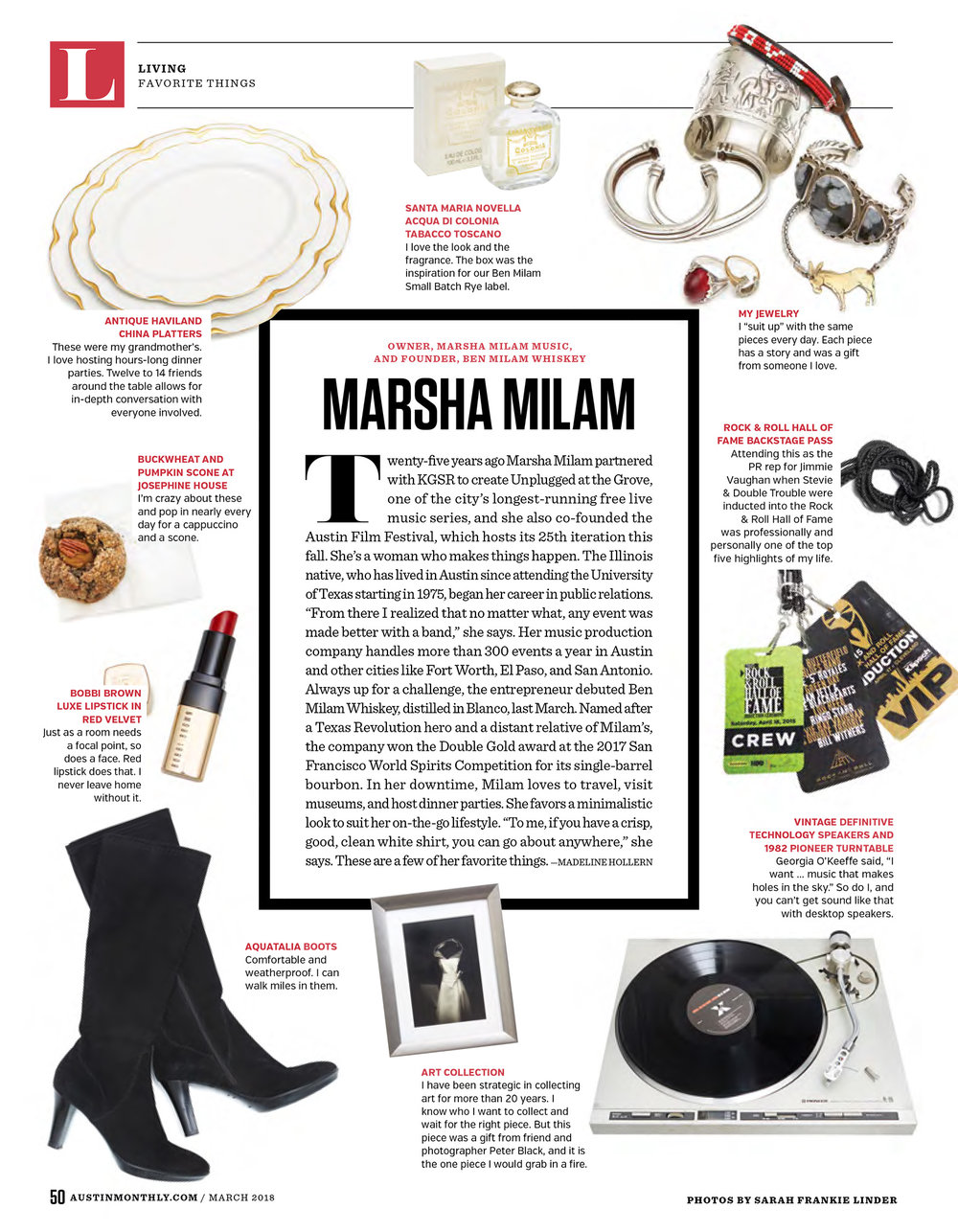 Austin Monthly // March 2018 // Favorite Things - Marsha Milam