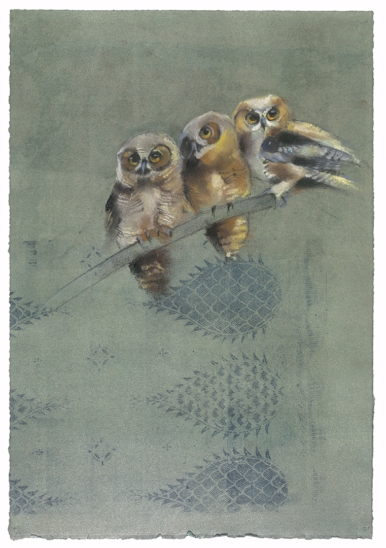 Great Horned Owlets on Green with Pineapple