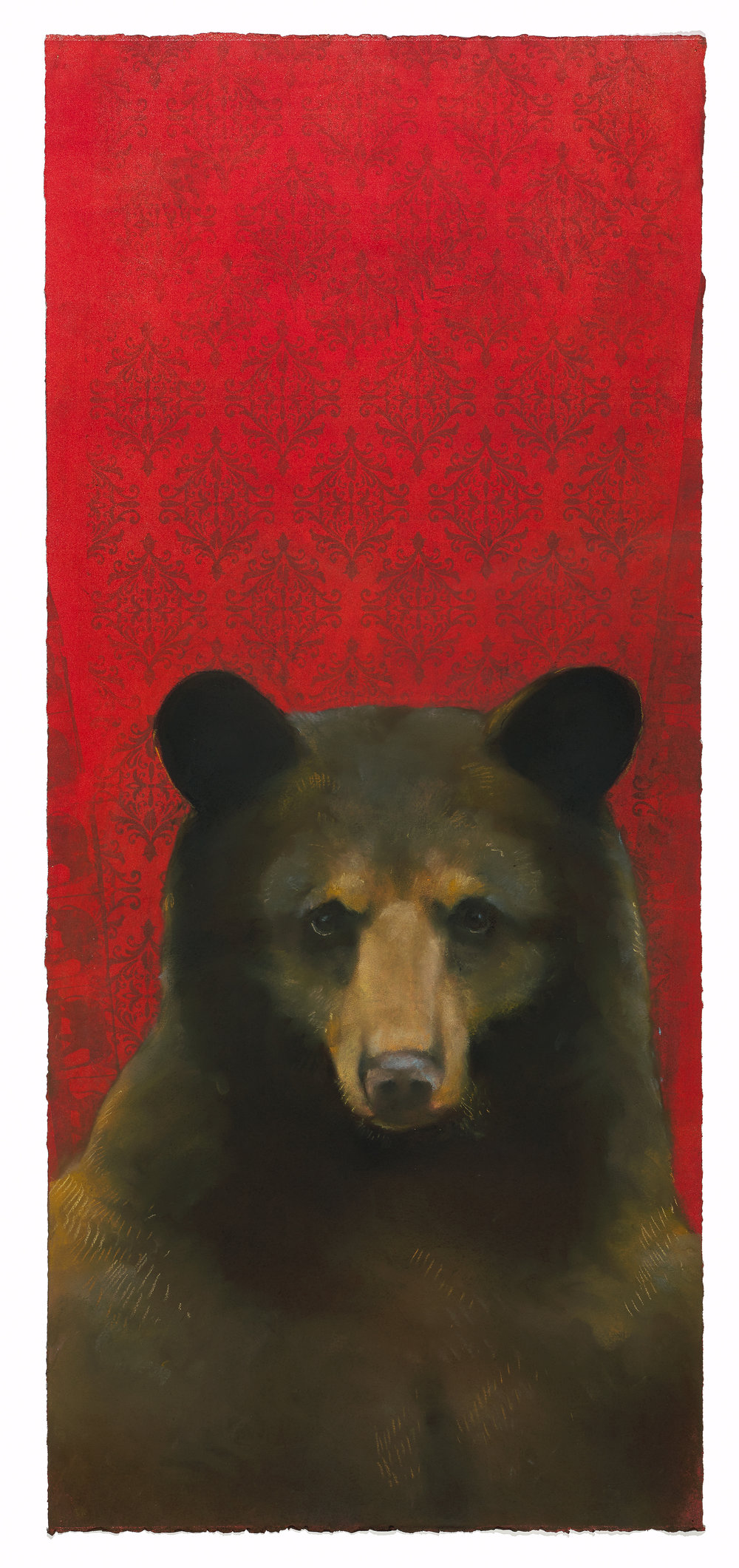 Brown Bear on Red Brocade
