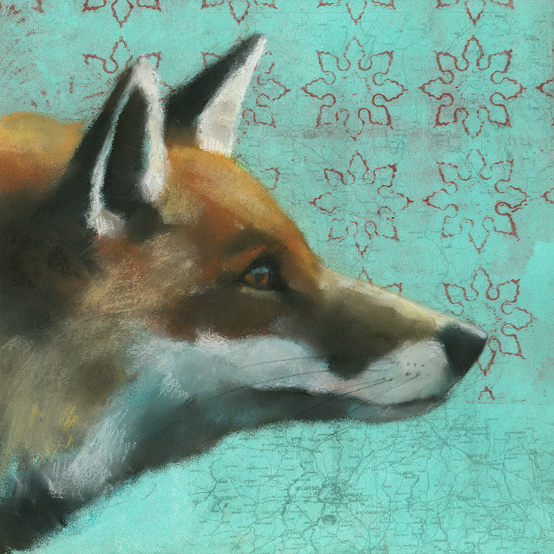 Fox on Snowflakes