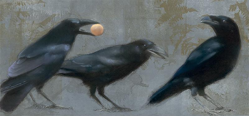 Ravens on Blue Ferns