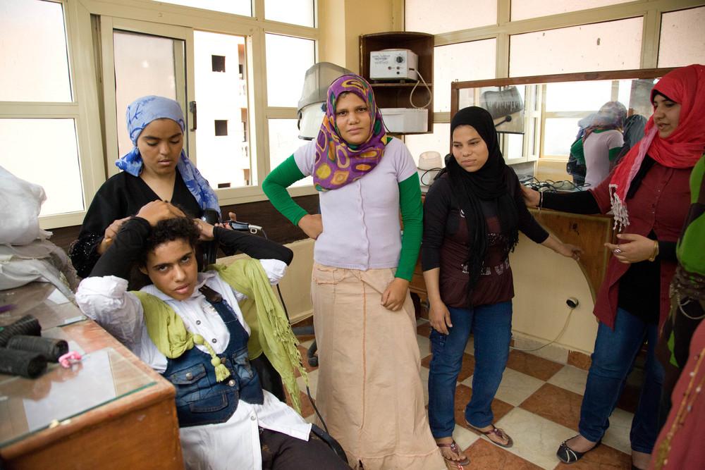 Vocational training for runaway girls. Cairo, Egypt.