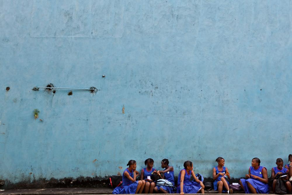 Schoolgirls in blue.