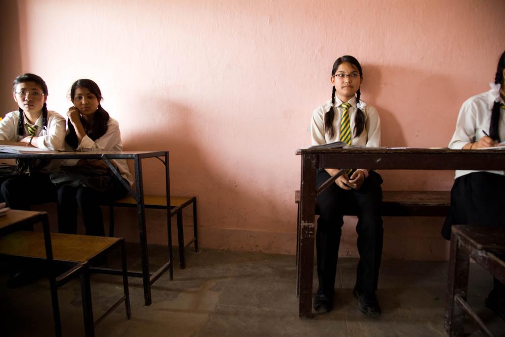 Priya waits for class to begin. Bhaktapur, Nepal.