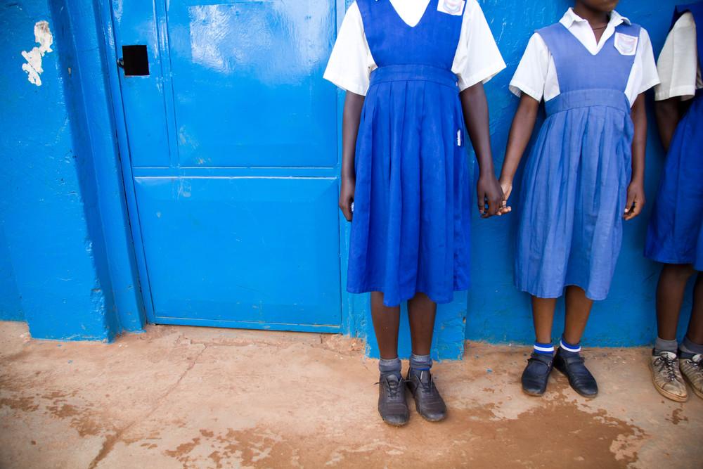 Schoolgirls in blue 2. Mpigi, Uganda.