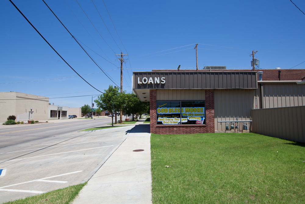 "Loan office: ""New Customers Welcome."""