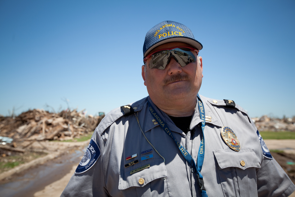 Bobby Altstatt of the Oklahoma City Police Department. Police patrolled tornado damaged areas to arrest any suspected looters.