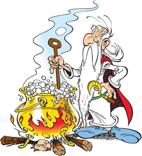 Getafix and his cauldron of magic potion.