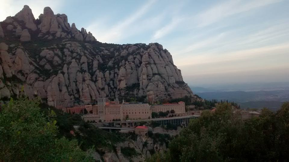 "Shrine of Our Lady of Montserrat. Literally ""Saw Mountain"" -- aptly named. Here Ignatius laid down his sword before the ancient statue of Jesus and Mary."
