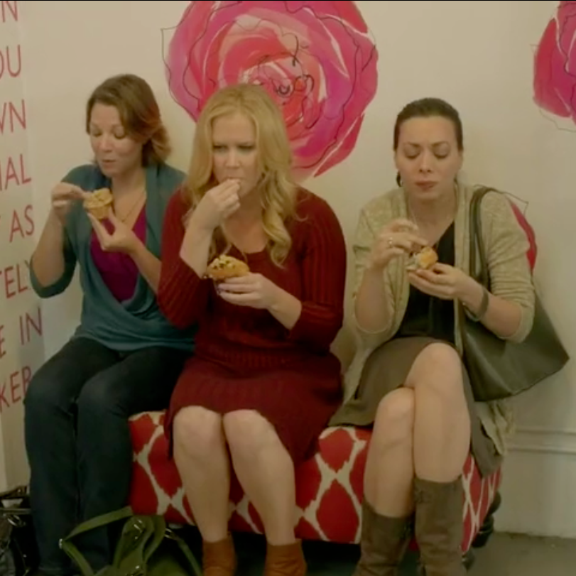 "On Set: ""Inside Amy Schumer"" / Rebecca indulges in a muffin break along side Amy"
