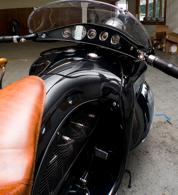 "Art Deco K.J Henderson Motorbike, 1936   Chris,  retronaut.co     ""Orig­i­nal­ly built by O. Ray Court­ney in 1936 based on a 1930 K.J Hen­der­son, restored by Frank West­fall from Syra­cuse, NY""   - Grail Mor­tillaro, Knuck­le­buster  …  All images by Grail Mor­tillaro     Holy Wow."