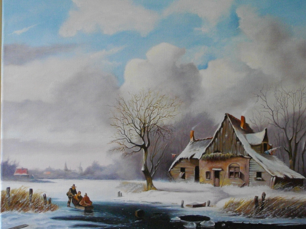 Arie Ekkel, winters gezicht, olieverf op linnen (doek) 60x50 cm