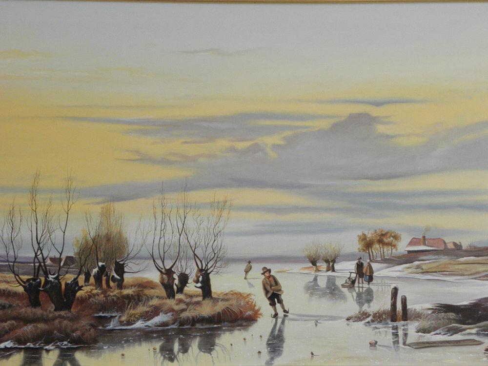 Winterlandschap, olieverf op linnen 100x70 cm