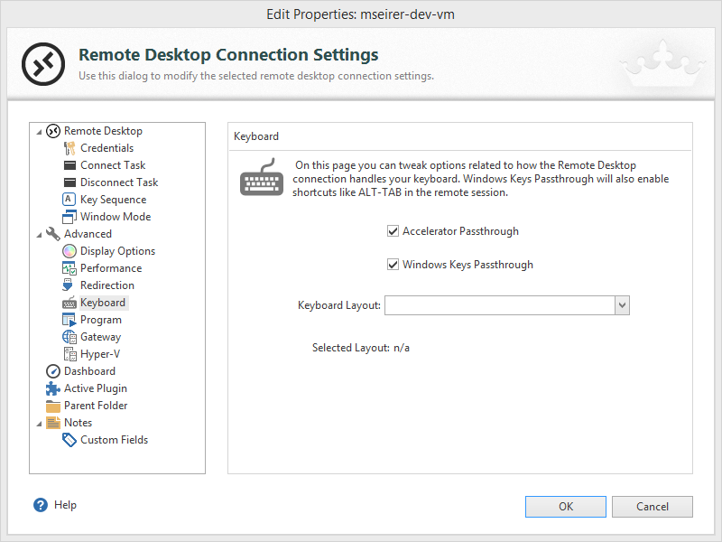Make sure, your Windows Keys are passed to the VM (Screenshot was done with Royal TS V3)