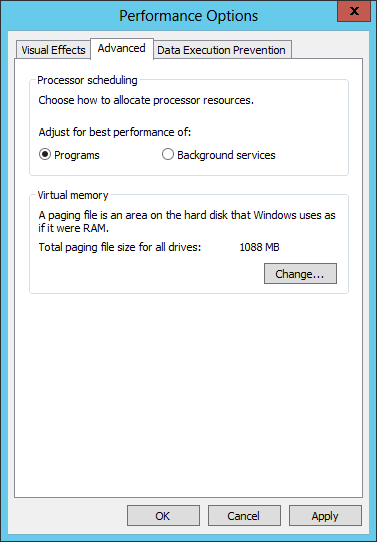 "Make sure, you have selected ""Programs"" as Processor scheduling settings"