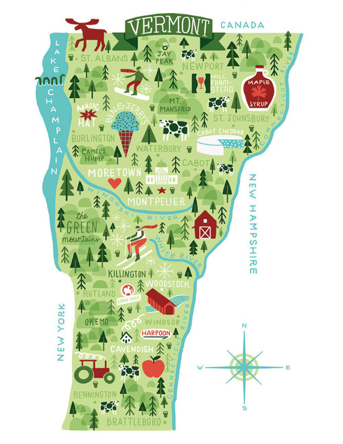 Vermont Map Michael Mullan - Vermont map