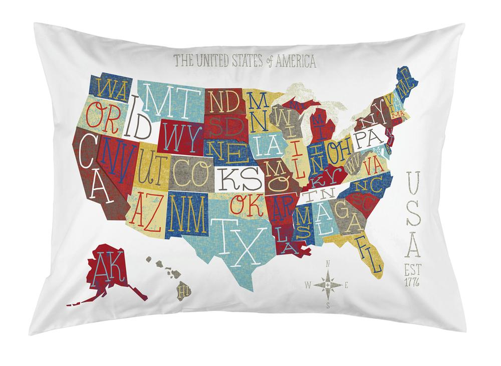 Colorful USA Map Michael Mullan - Us map pillow
