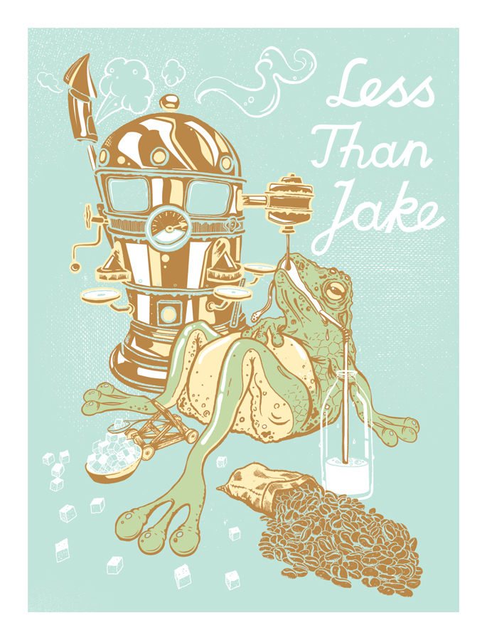 Less Than Jake Addicted Frog Screen printed Ska Punk Poster