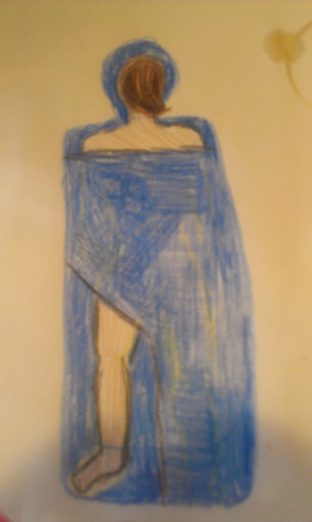 this is what leg draping looks like, when it is drawn in crayon at a coffeeshop. Note the coffee ring in the top right corner.