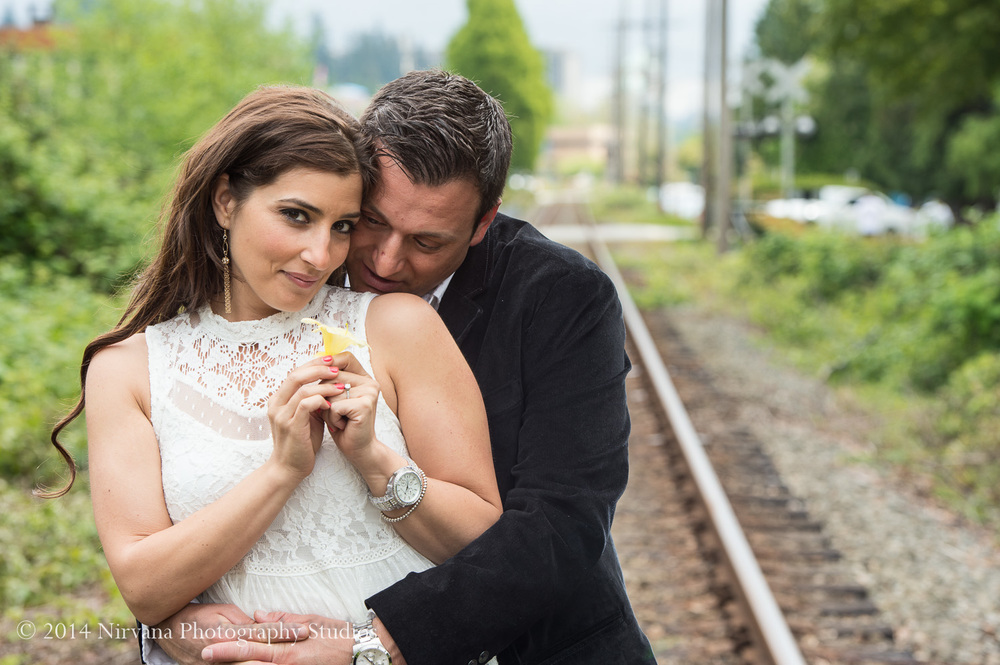 Liana and Nick along the train tracks