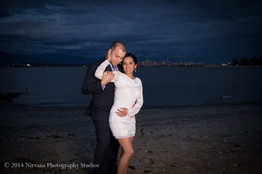 Along the shores of English Bay, Maria and Angelo share their moment together as a newly-wed Chilean-Canadian couple.