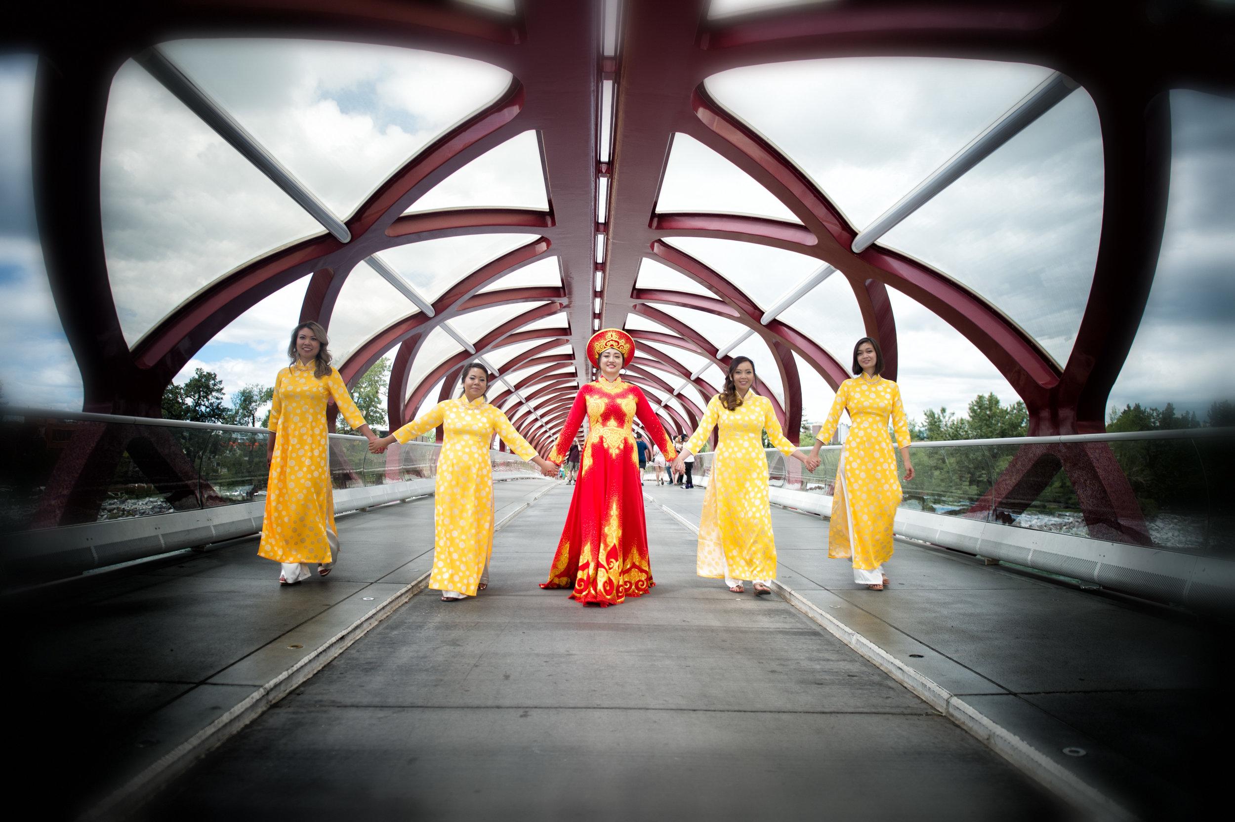 Vietnamese Wedding, shot at the Peace Bridge in Calgary