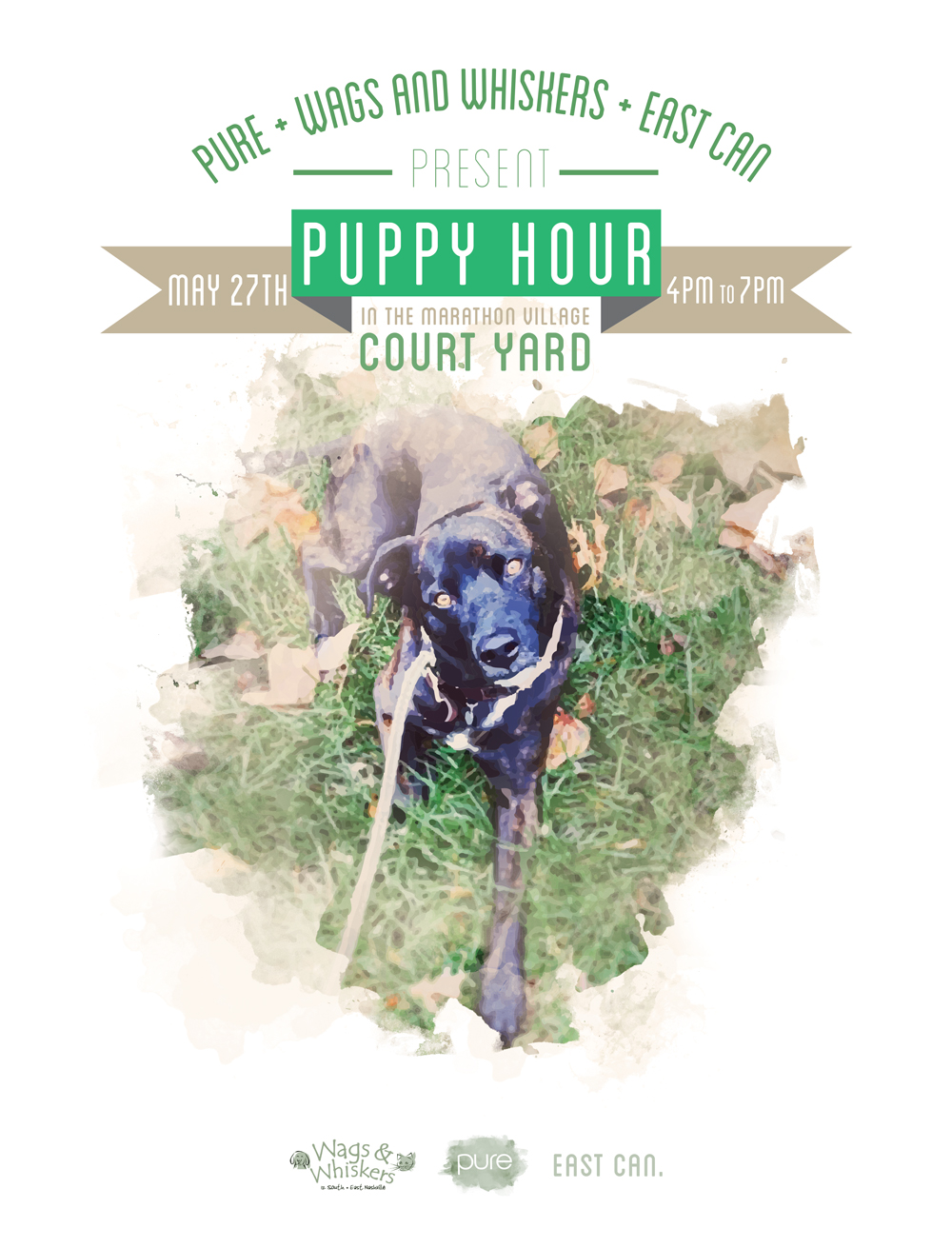 Bring your pups or adopt one! Come hang with us for happy hour twofor one at Corsier Distillery and or ice cream floats at Soda Parlour! We will have giveaways and a super awesome raffle! Just Wags & Whiskers, East Can and Pure for Puppy hour!