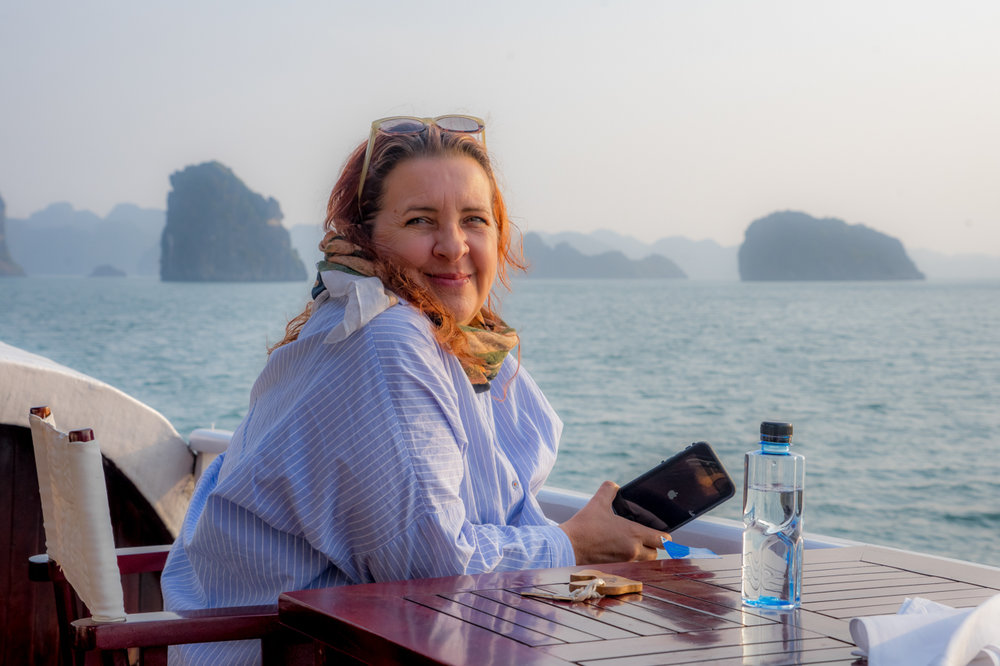 The sun rises over Bai Tu Long Bay's thousands of karst-gumdrop islands, just north of Vietnam's more famous (and congested!) Halong Bay. Pssst: don't tell - it's a secret!  ( Toccati  Excursion 2016: Vietnam)