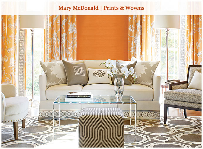 New for Spring from Schumacher. Orange is a happy color!