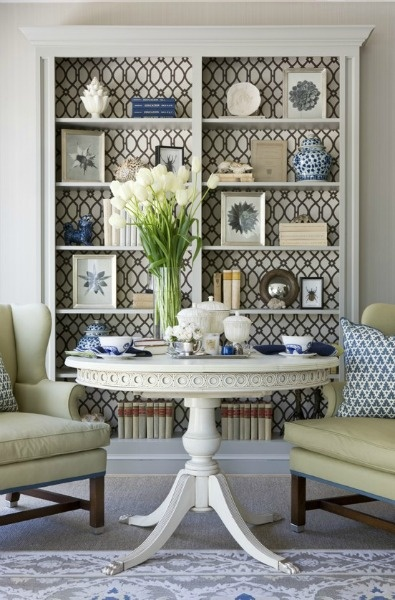 Use a geometric pattern behind a bookcase.