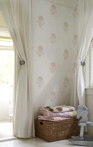 This fresh Spring wallpaper from Les Indiennes is subtle, understated and neutral enough to use in a variety of spaces.