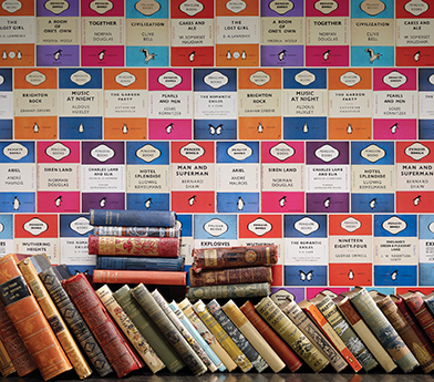 This new wallpaper from Osborne & Little called Penquin Library would be perfect for a powder room, kid's room or of course, a library.