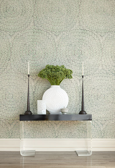 This sophisticated and understated wallpaper from Celerie Kemble for Schumacher is perfect for a foyer.