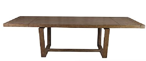 Not only is this table super cool looking, it also extends. The wood is nicely distressed and it comes in a darker finish as well.