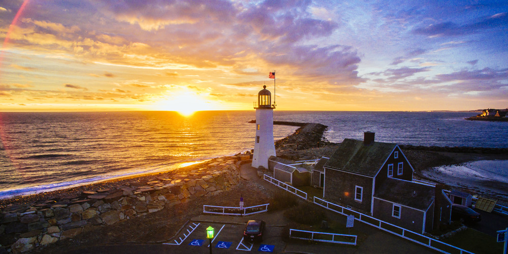 Drone Sunrise at the Old Scituate Lighthouse in Boston, Massachusetts, USA