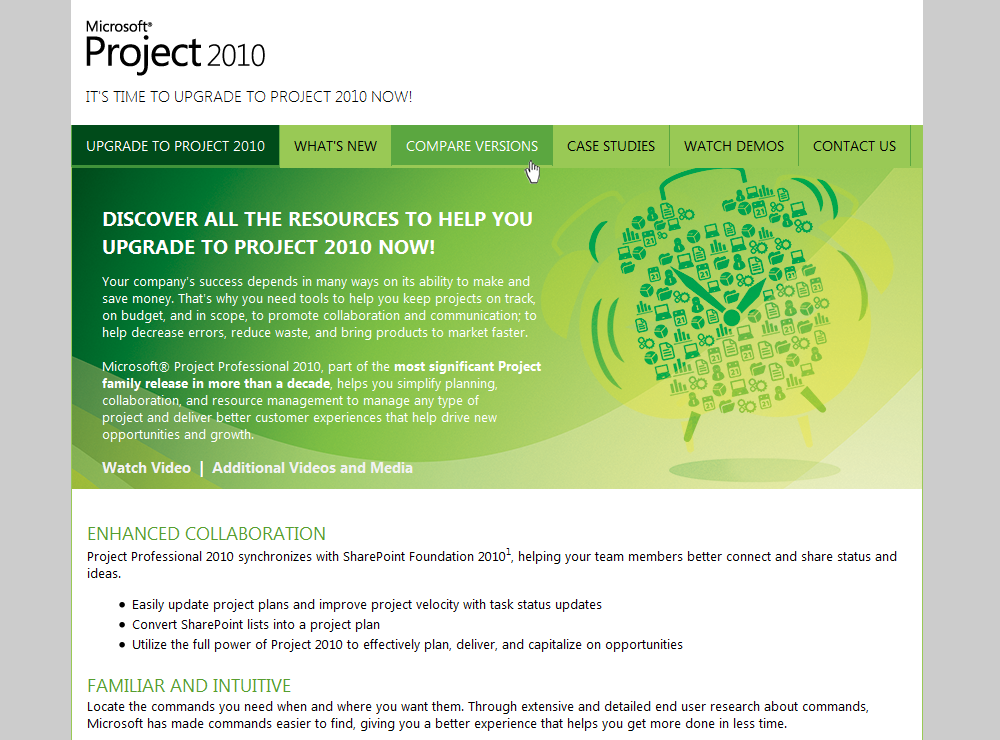 Microsoft Project 2010 - Stand-alone Website included with Customer Kit.