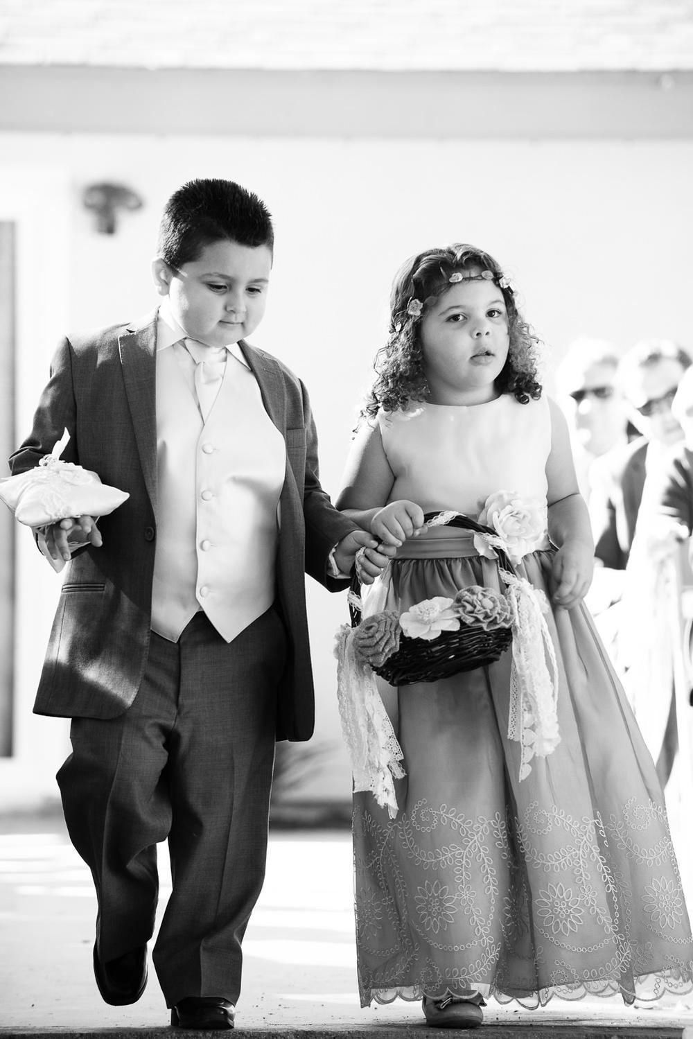 f27-Photography-Ojai-Wedding-February-2014-Flower-Girl-and-Ring-Bearer-Walking-Down-Aisle