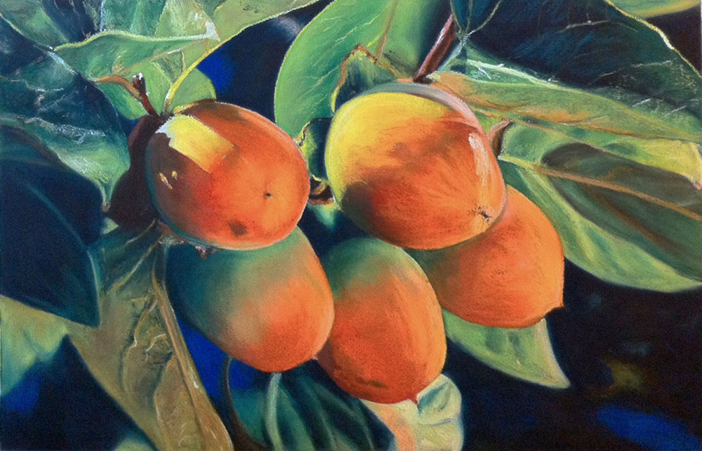 """Mangoes"" - 15x22 inches oil pastels on watercolor paper"