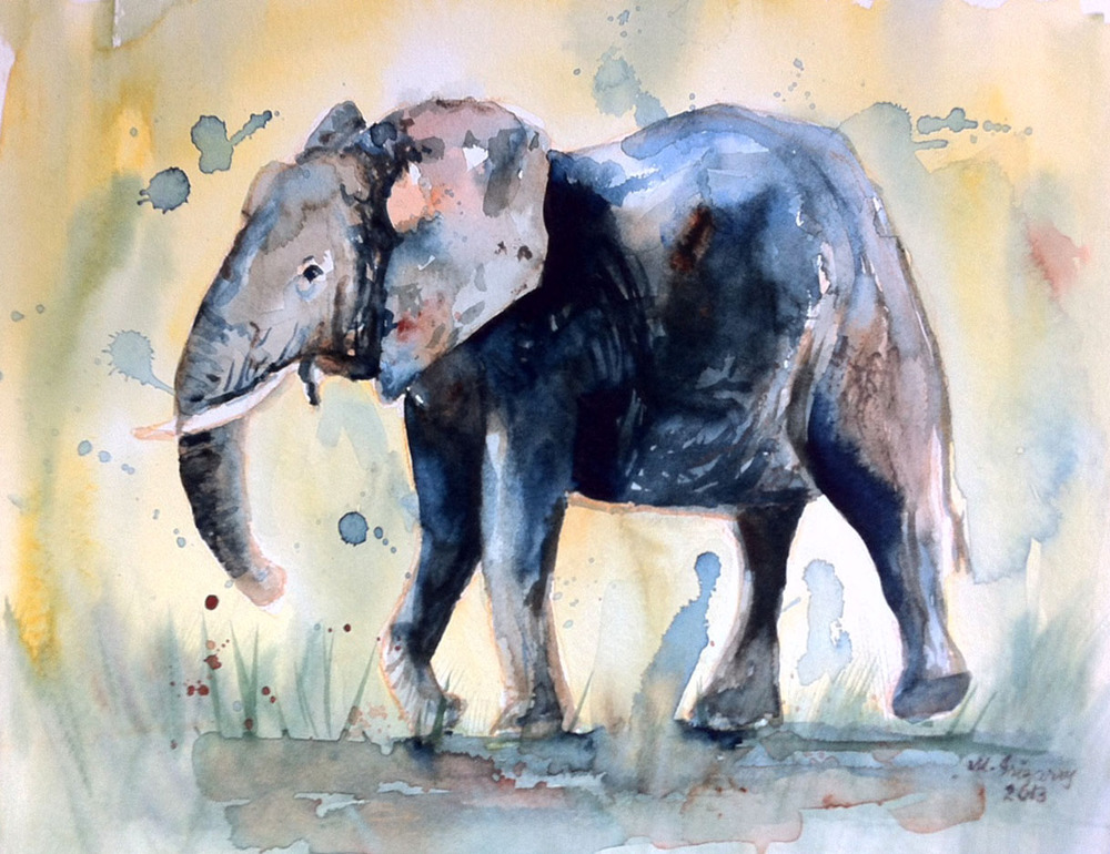 Elephant - watercolor on watercolor paper (12 x 9 inches)