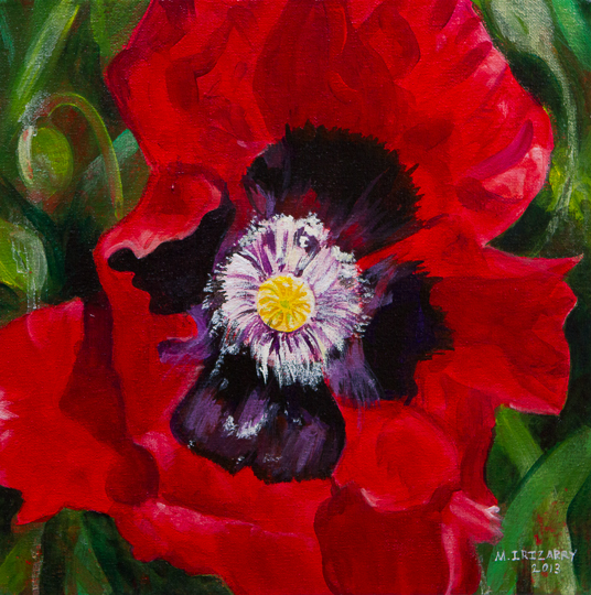 Red passion - acrylic on gallery-wrapped canvas (12x12 inches)