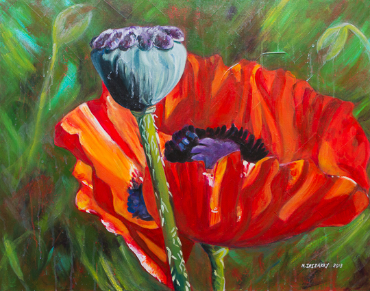 Poppy and buddy - acrylic on gallery-wrapped canvas (28 x 22 inches)