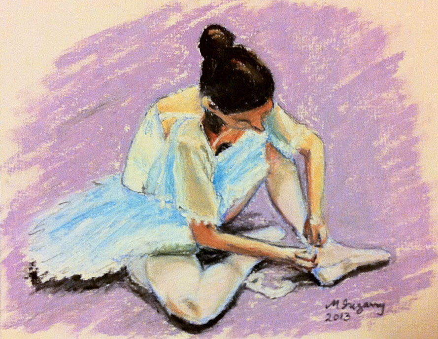 Ballerina - oil pastel on matboard (approx. 7.5 x 10 inches)